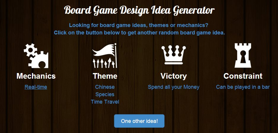 boardgamizercom board game design idea generator - Game Design Ideas